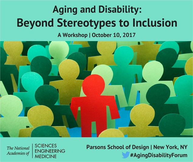 Poster for Aging & Disability workshop at Parsons School of Design