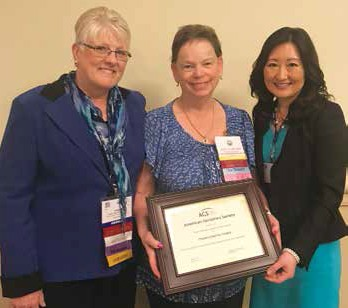 Kathy Frank, RN, PhD, AGSF, COSAR co-chair, with Mary Olhausen, OGS Executive Director, & OGS's Lisa Miura, MD