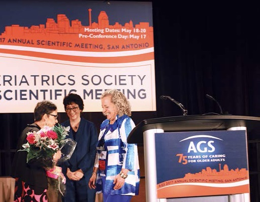 Dr. Barbara Resnick, recipient of the 2017 Solomon Public Service Award, joined by AGS President Dr. Debra Saliba and AGS Board Chair Dr. Ellen Flaherty.